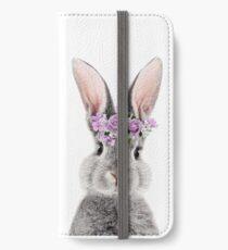 Häschen mit Blumen iPhone Flip-Case/Hülle/Skin