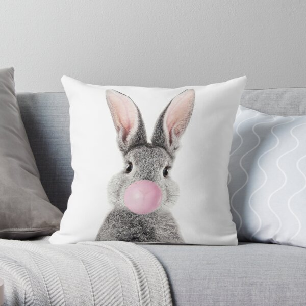 Bunny With Bubble Gum Throw Pillow