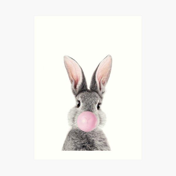 Bunny With Bubble Gum Art Print