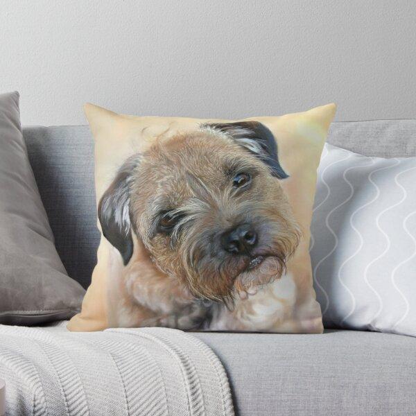Border Terrier Art Painting Throw Pillow