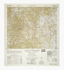 Topographical Map of North and South Korea (1952) Photographic Print