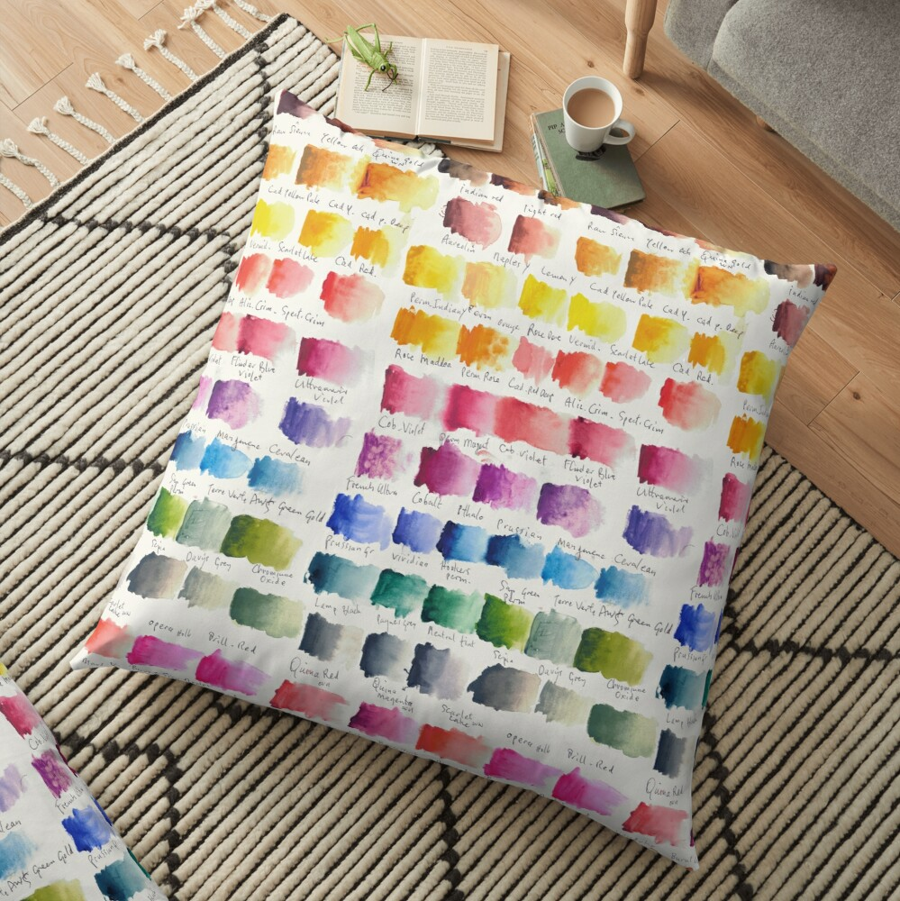 Watercolour Palette Floor Pillow