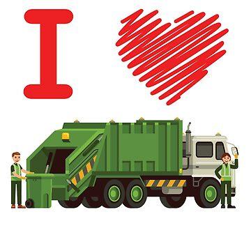 'I Love Garbage Trucks' Awesome Truck Gift by leyogi