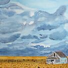 Abandoned Turquoise House with Storm Clouds by lisavonbiela