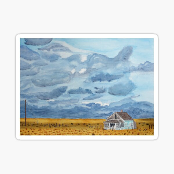 Abandoned Turquoise House with Storm Clouds Sticker