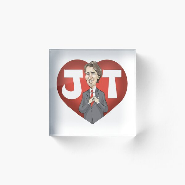 I heart Justin Trudeau (With beard. Updated in Feb 2020) Acrylic Block