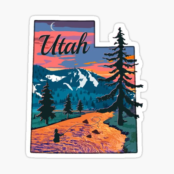 Vintage Fish Utah State Map UT Fly Fishing  Sticker