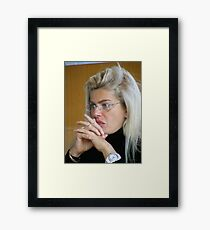 Pretty Blond Museum Visitor Framed Print