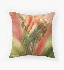 Peach Callas In Calla Vase Throw Pillow
