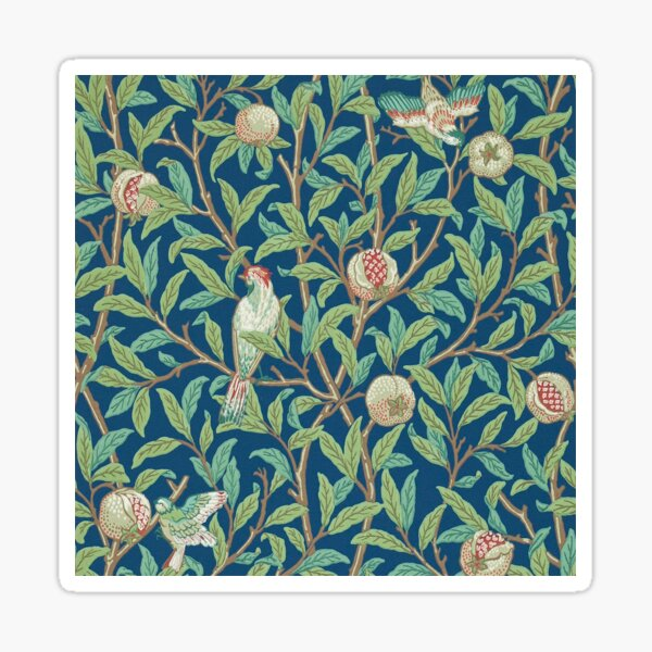 Fruit Trees and Birds Vintage Pattern by William Morris Sticker