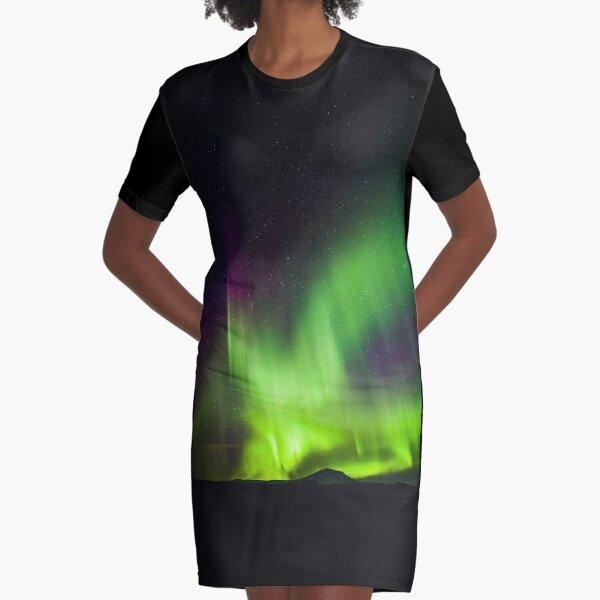 Northern Lights, Purple and Green, Night Sky, Stars, Alaska, Winter Graphic T-Shirt Dress