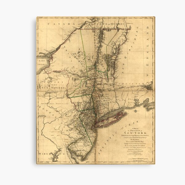 Map of the Province of New York by William Faden (1776) Canvas Print