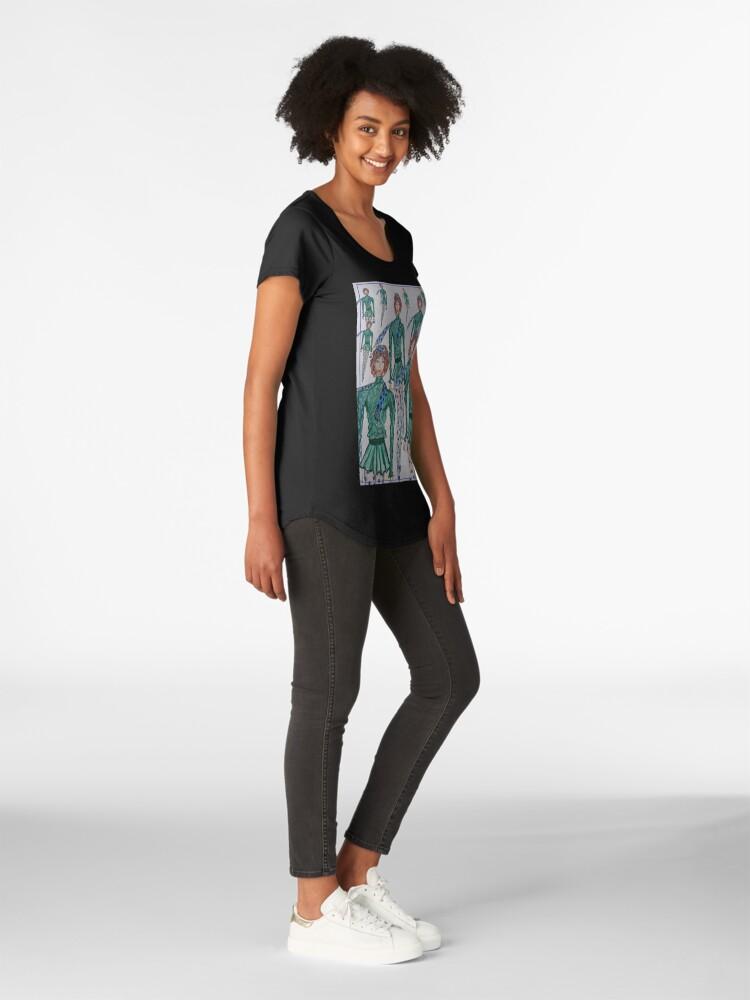 Alternate view of FASHION ILLUSTRATION GO GREEN GIRL Premium Scoop T-Shirt