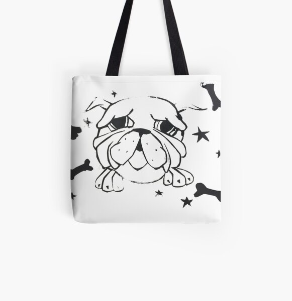 Monochromatic Bulldog Print All Over Print Tote Bag