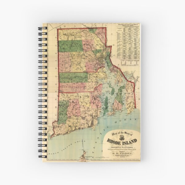 Map of Rhode Island and Providence Plantations (1880) Spiral Notebook