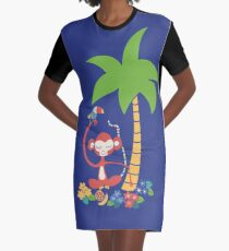 Meditating monkey and toucan jungle tropical illustration Graphic T-Shirt Dress