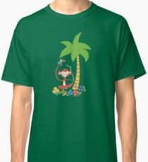 Meditating monkey and toucan jungle tropical illustration Classic T-Shirt
