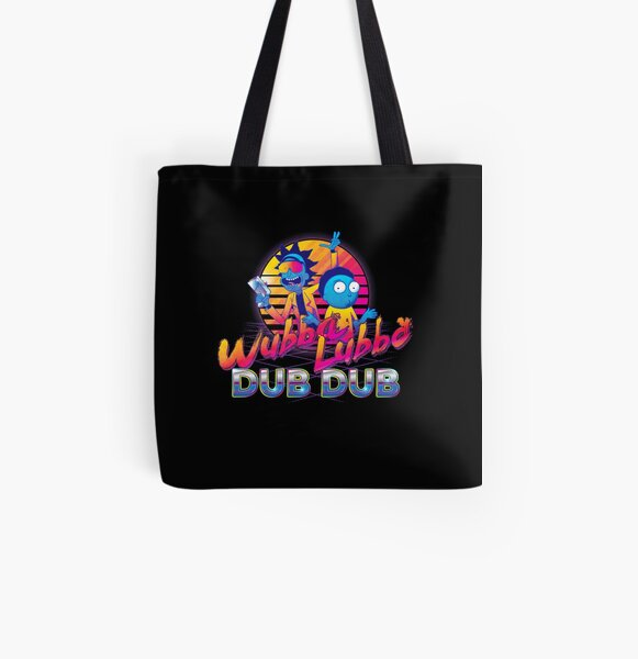 Rick and Morty Neon All Over Print Tote Bag