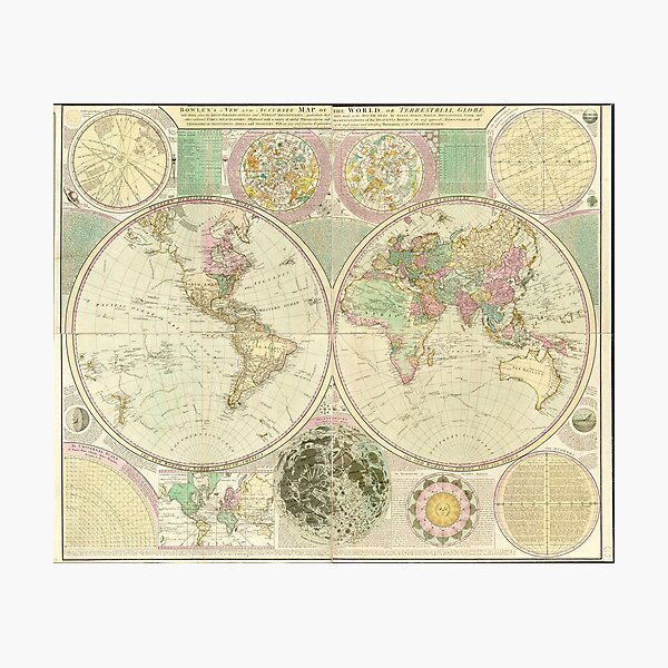 World Map by Carington Bowles (circa 1780) Photographic Print