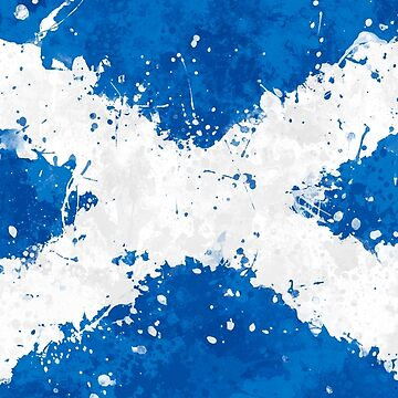 Scotland Flag Action Painting - Messy Grunge by GrizzlyGaz