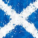 Scotland Flag Action Painting - Messy Grunge by Garyck Arntzen