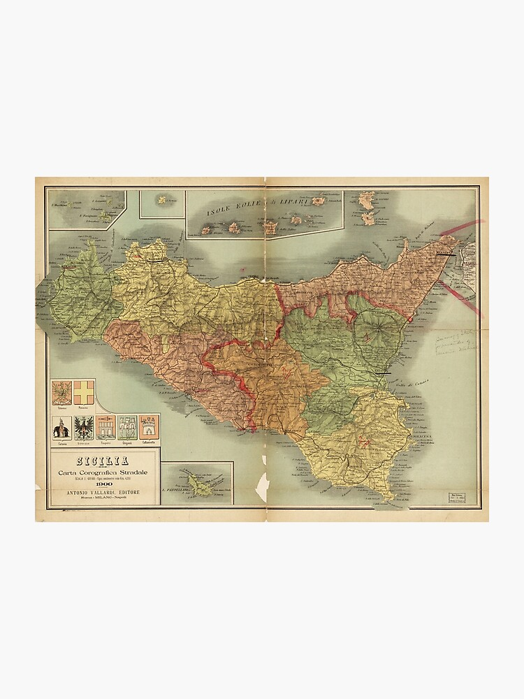 photo about Printable Map of Sicily identified as Map of Sicily 1900 (Sicilia carta corografica stradale) Photographic Print