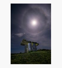 Poulnabrone Dolmen at Night In The Moonlight Photographic Print