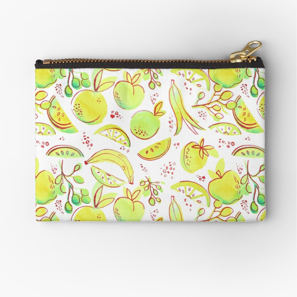 Hand Painted Watercolor - Neon Fruit Toss Zipper Pouch