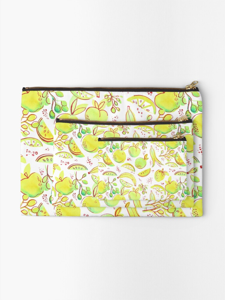 Alternate view of Hand Painted Watercolor - Neon Fruit Toss Zipper Pouch