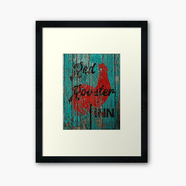 Rustic Red Rooster Inn Teal Country Decor Art A644 Framed Art Print