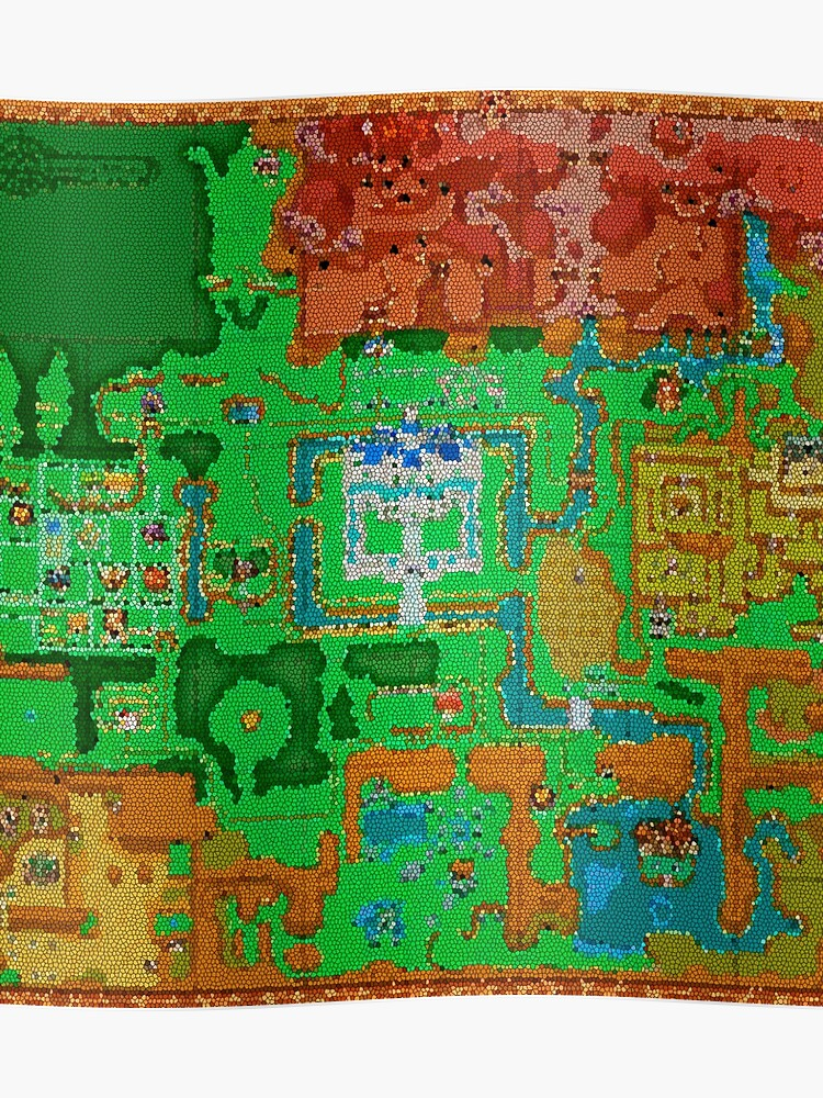 Mosaic Hyrule Map | The Legend of Zelda: A Link Between Worlds | Poster