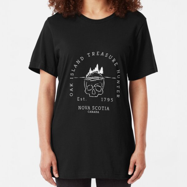 Oak Island Treasure Hunter Skull  Gift Slim Fit T-Shirt