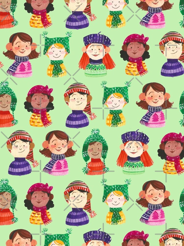 Hand Painted Watercolor and Gouache Pattern - Snow Day by annieparsons