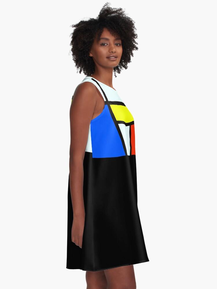 Alternate view of Piet Mondrian Composition A - Rectangle Modern Art Canvas A-Line Dress