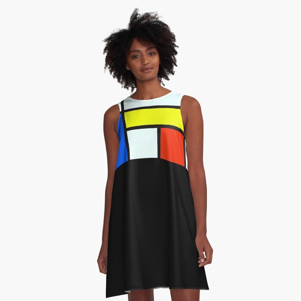 Piet Mondrian Composition A - Rectangle Modern Art Canvas A-Line Dress