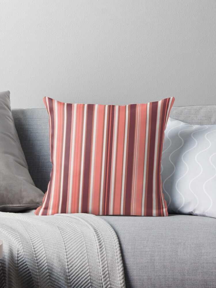 Sweet Stripy Throw Pillow By Rasita Redbubble