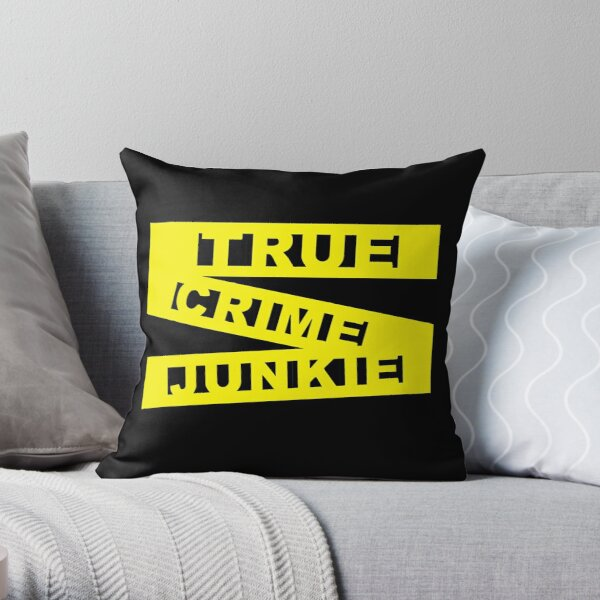 True Crime Junkie - Crime Scene Tape - Police Line Throw Pillow