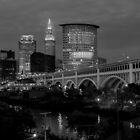 Nighttime comes to downtown Cleveland. by ROBERT NIEDERRITER