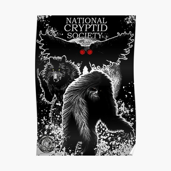 National Cryptid Society Poster: Bigfoot, Dogman and Mothman Monsters of America Poster