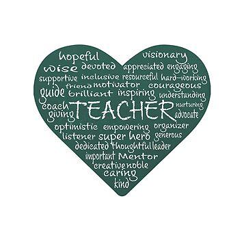 Heart Teacher Word Cloud in Chalk by jitterfly