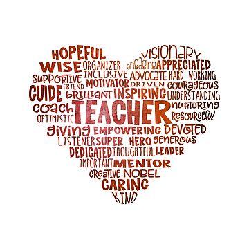 Heart Teacher Word Cloud Red by jitterfly