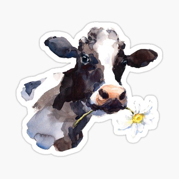 Cow with Daisy Sticker