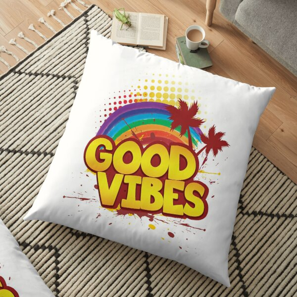 'Rainbow Good Vibes 70s Retro' Awesome 70s Vintage Gift Floor Pillow