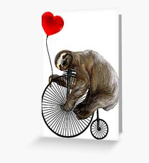 Sloth on Penny Farthing Velocipede with Heart Balloon Greeting Card