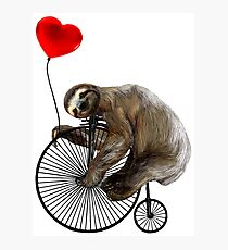 Sloth on Penny Farthing Velocipede with Heart Balloon Photographic Print