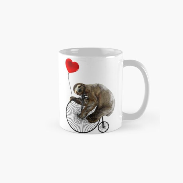 Sloth on Penny Farthing Velocipede with Heart Balloon Classic Mug