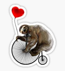 Sloth on Penny Farthing Velocipede with Heart Balloon Sticker