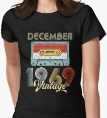Funny December 1969 Retro Vintage Cassette Type 50th Birthday Women's Fitted T-Shirt