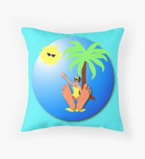 Funny feet 50's retro beach holiday! Throw Pillow