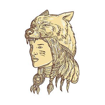 Native American Woman Wearing Wolf Headdress by patrimonio
